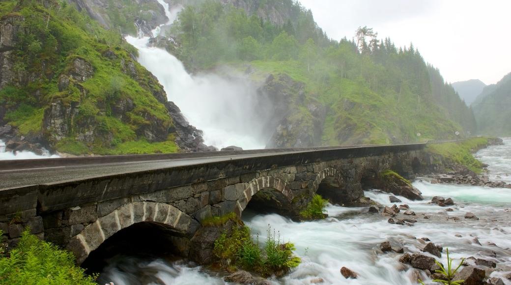 Bergen bevat stroomversnellingen, een brug en een waterval