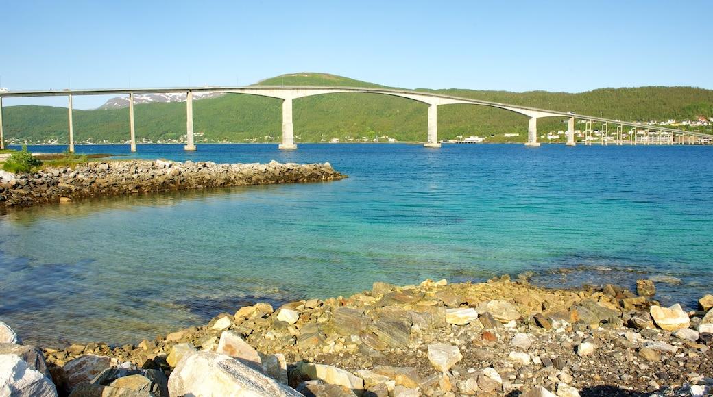 Finnsnes som inkluderer kyst, kystby og bro