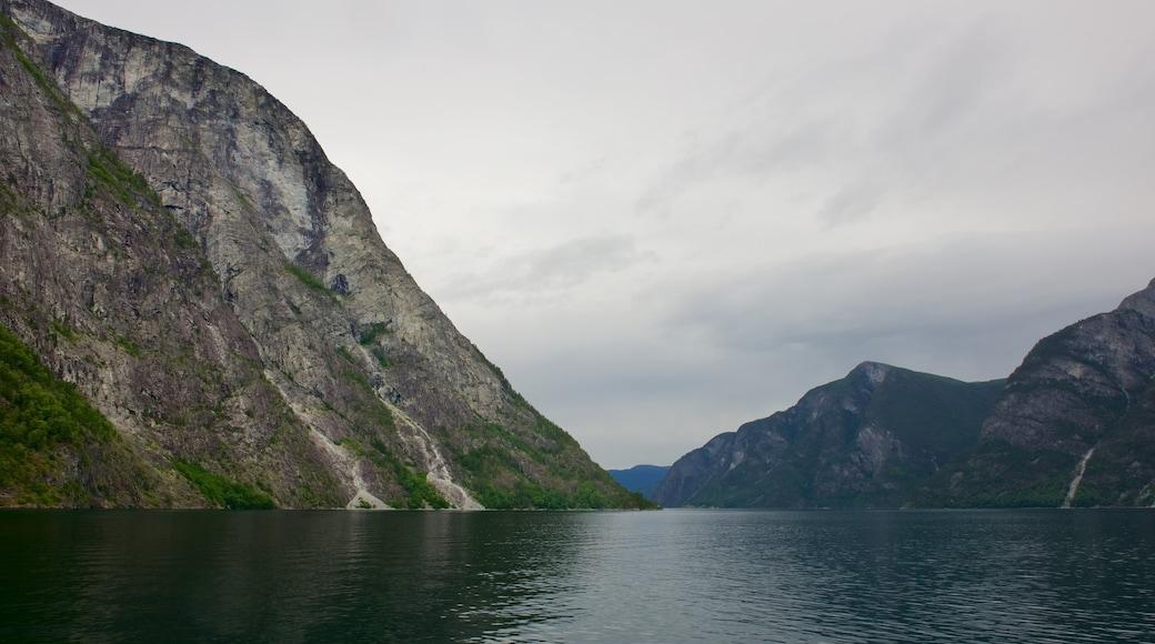 Nærøyfjord mit einem Berge und See oder Wasserstelle