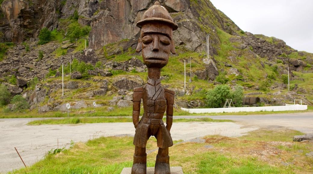 Stamsund fasiliteter samt kulturarv og statue eller skulptur