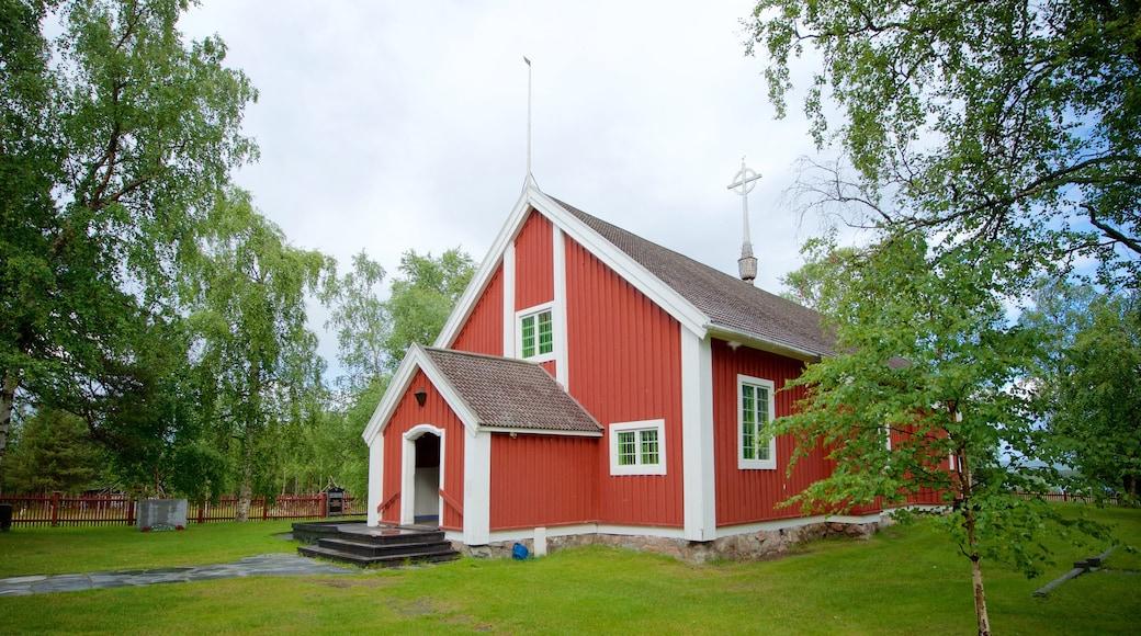 Jukkasjärvi som viser historisk arkitektur, religion og kirke eller katedral