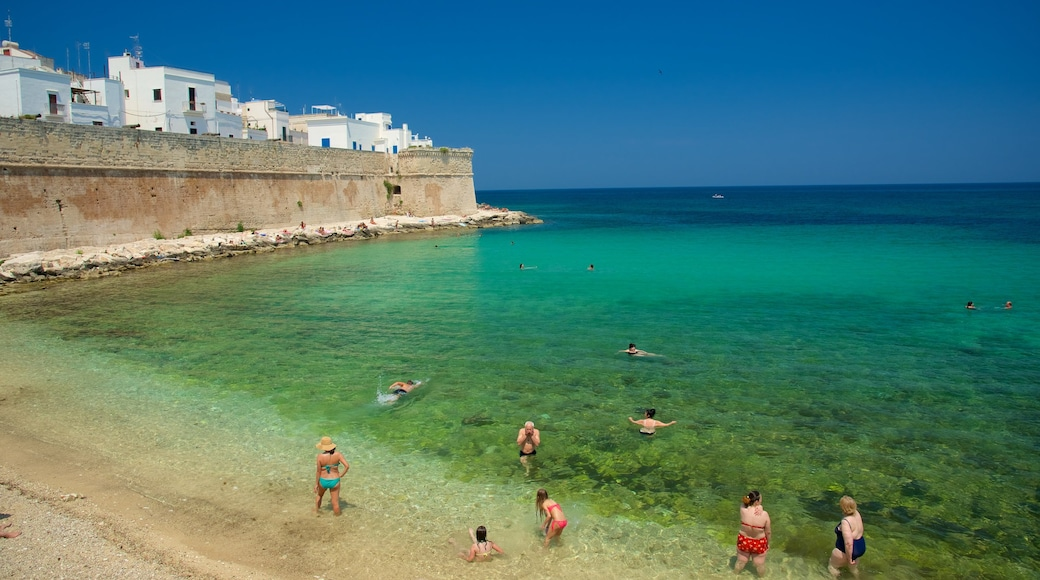 Monopoli showing a pebble beach and rugged coastline as well as a large group of people