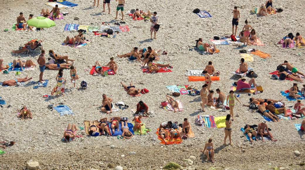 Polignano a Mare som viser strand med småstein i tillegg til en stor gruppe med mennesker