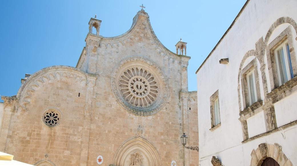 Cattedrale di Ostuni mostrando architettura d\'epoca, religiosità e chiesa o cattedrale