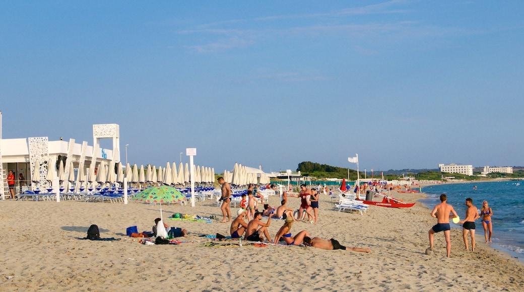 Baia Verde Beach das einen Sandstrand und Sonnenuntergang sowie große Menschengruppe