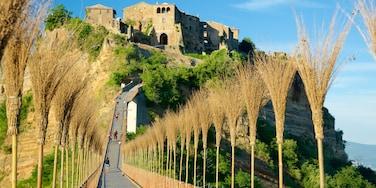 Bagnoregio ofreciendo un puente, patrimonio de arquitectura y castillo o palacio