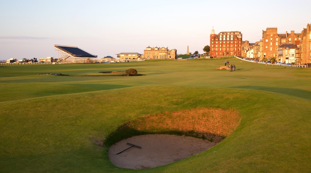 St. Andrew Links showing golf and a sunset