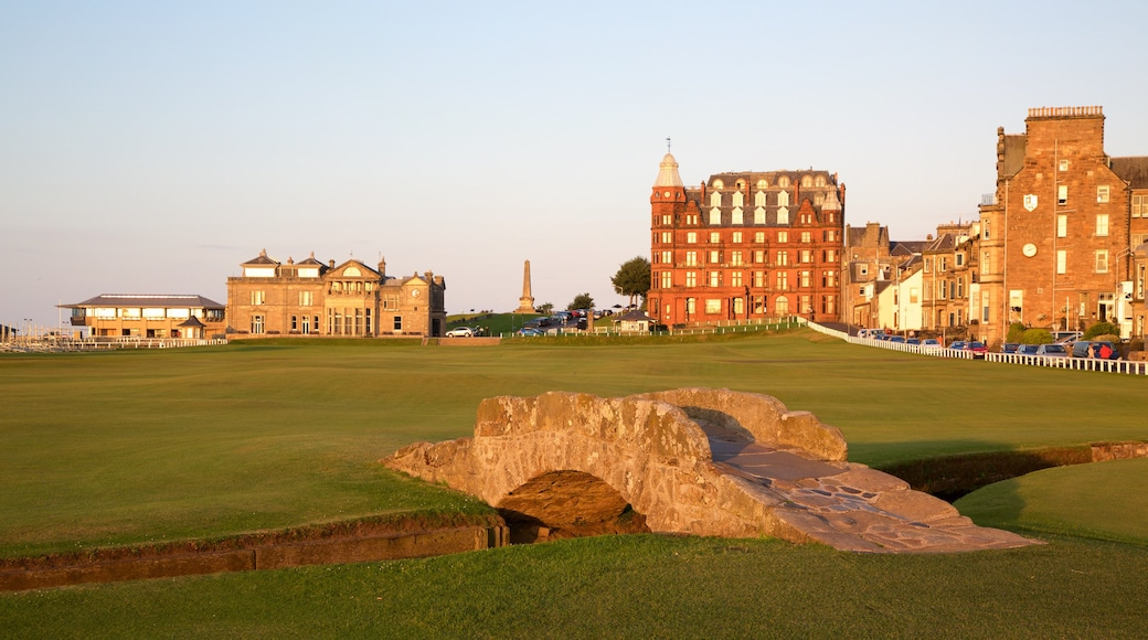 St. Andrew Links featuring golf, a sunset and heritage architecture