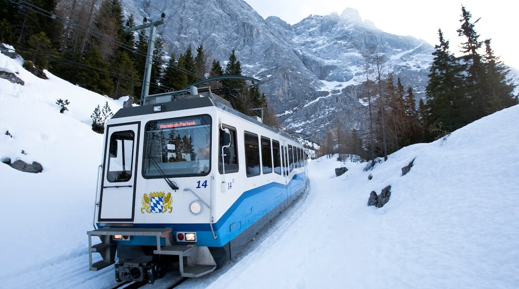Zugspitze which includes railway items and snow