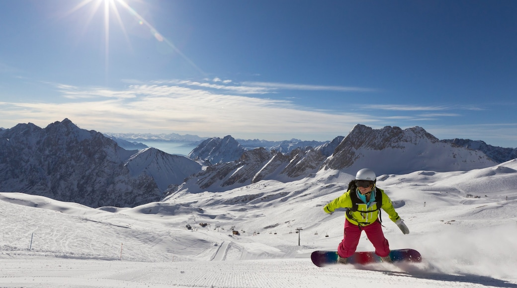 Zugspitze featuring mountains, snow and snow boarding