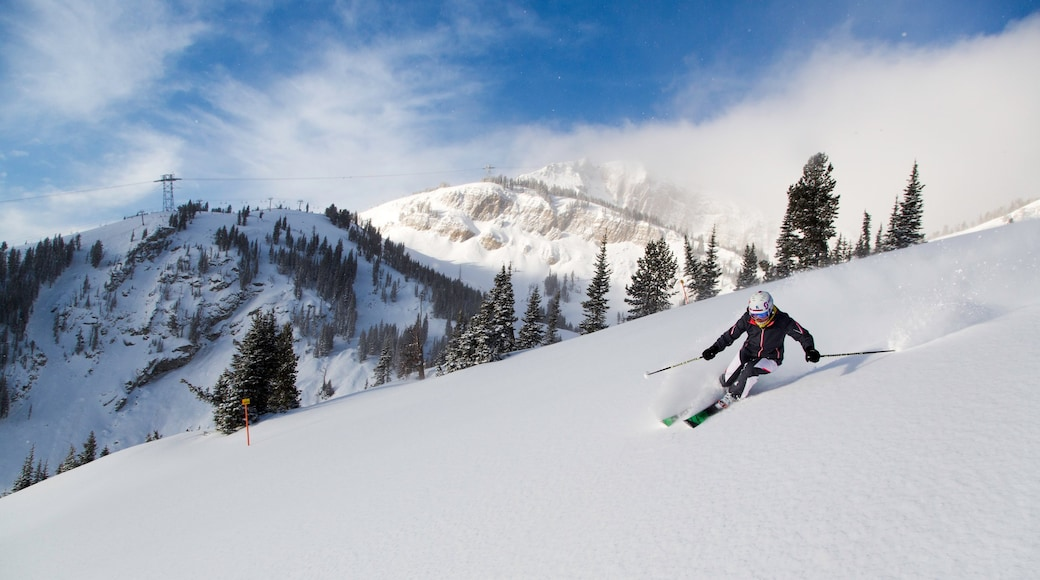Jackson Hole Mountain Resort which includes snow, snow skiing and mountains