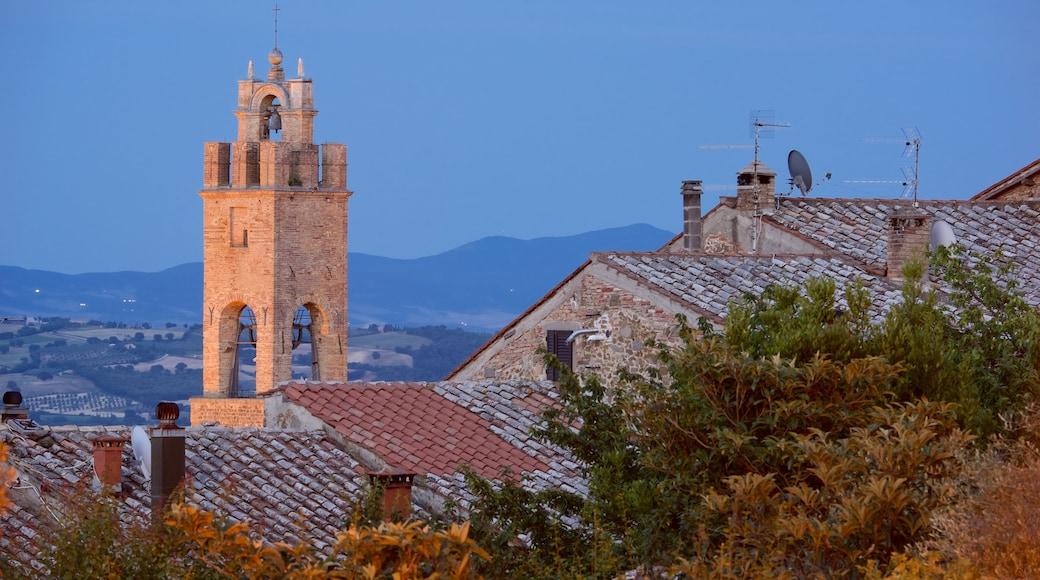 Montalcino som viser historisk arkitektur og solnedgang