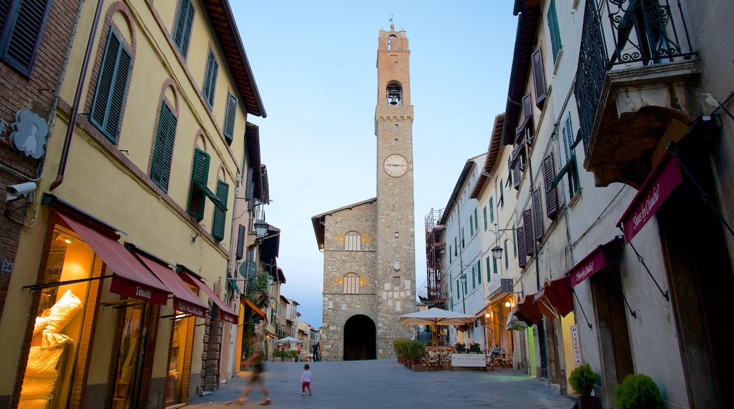 Montalcino showing a sunset and heritage architecture