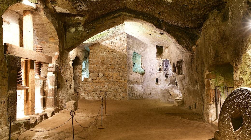 Grotte della Rupe mostrando rovine di un edificio e vista interna