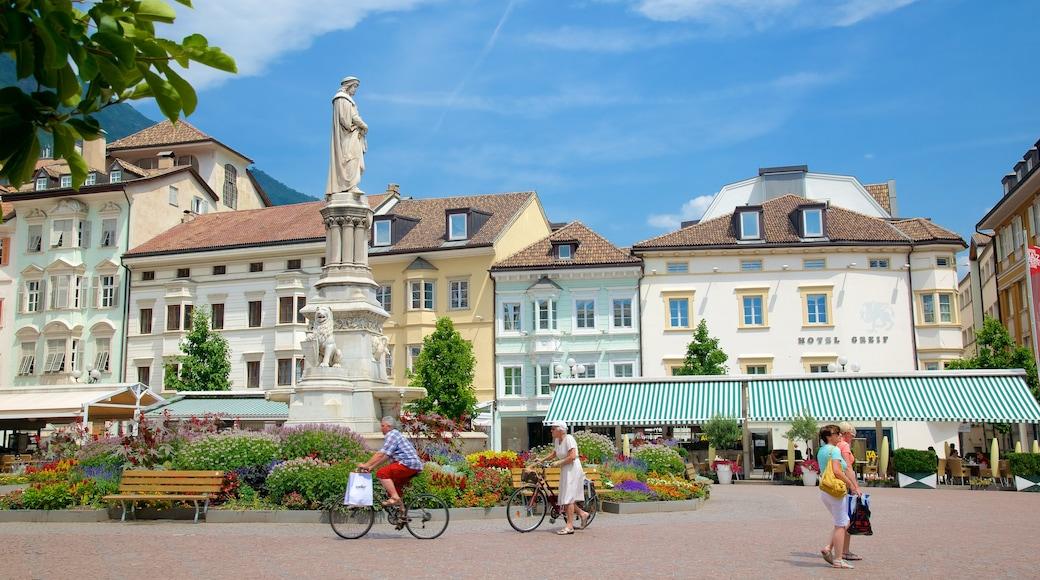 Piazza Walther che include fontana, bicicletta e statua o scultura