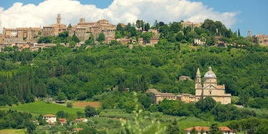 Montepulciano welches beinhaltet Stadt, historische Architektur und Landschaften