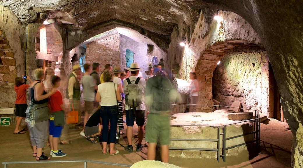 Grotte della Rupe che include vista interna e grotte cosi come un grande gruppo di persone