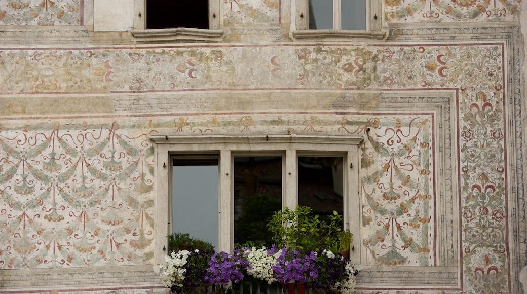 Trient das einen Blumen und historische Architektur