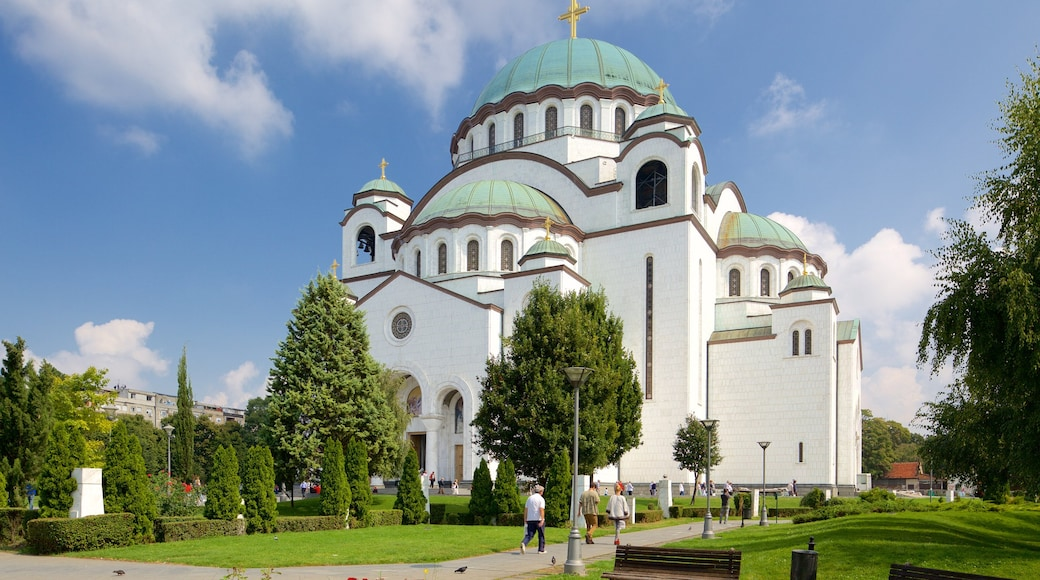 Cathedral of Saint Sava showing a church or cathedral, heritage architecture and a garden