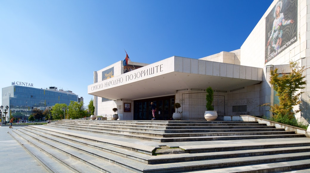 National Theatre of Serbia showing theater scenes, a square or plaza and a city