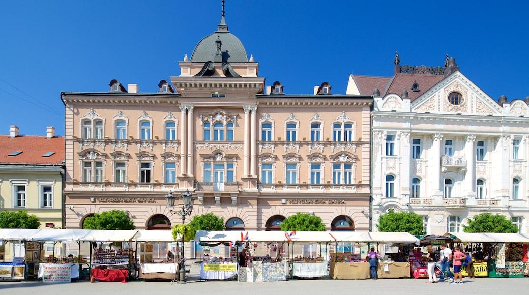 Novi Sad showing heritage architecture, markets and street scenes