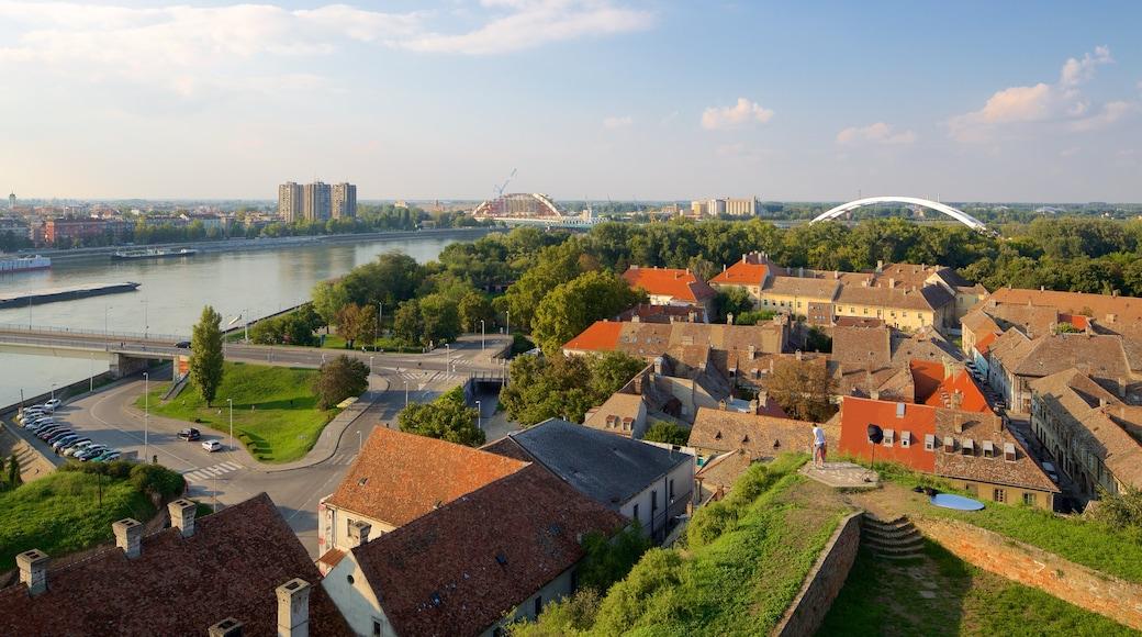 Novi Sad which includes a river or creek, a bridge and a city