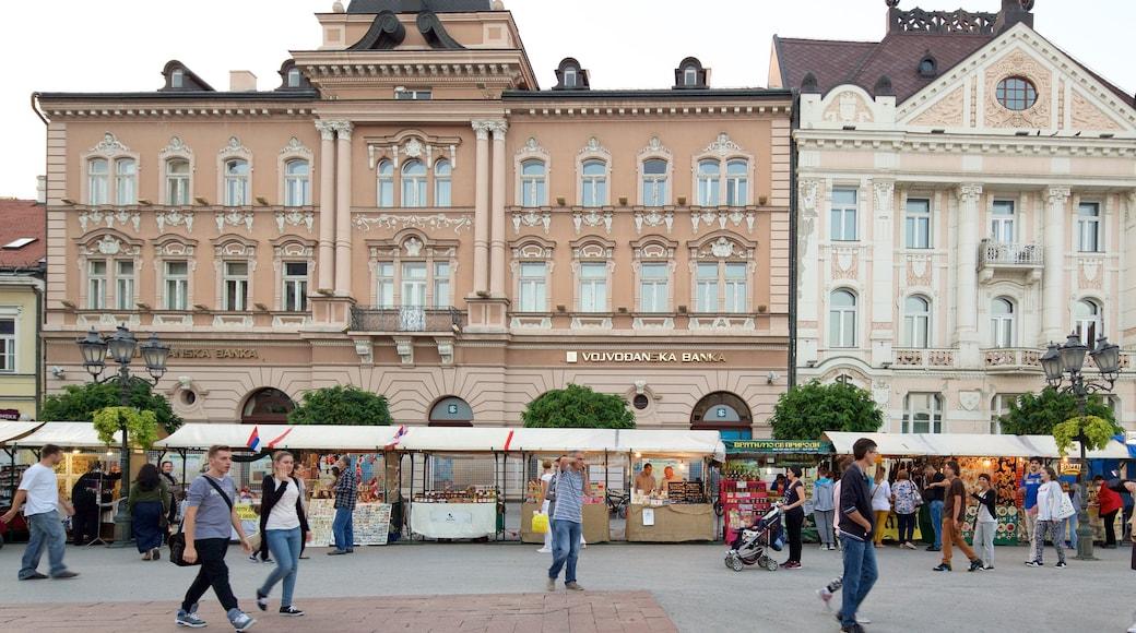Novi Sad featuring street scenes, heritage architecture and markets