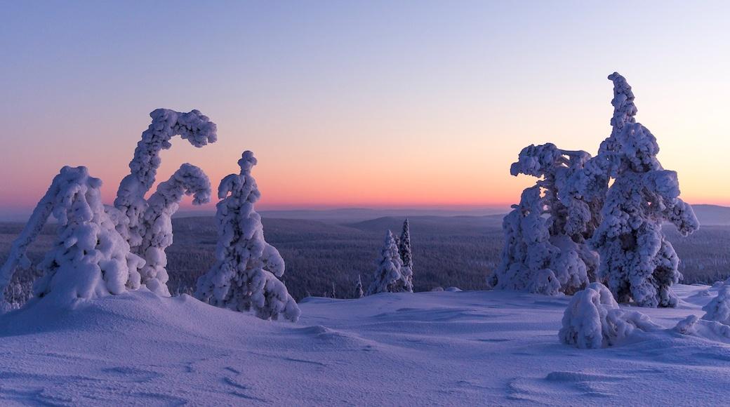 Ylläs johon kuuluu lunta ja auringonlasku