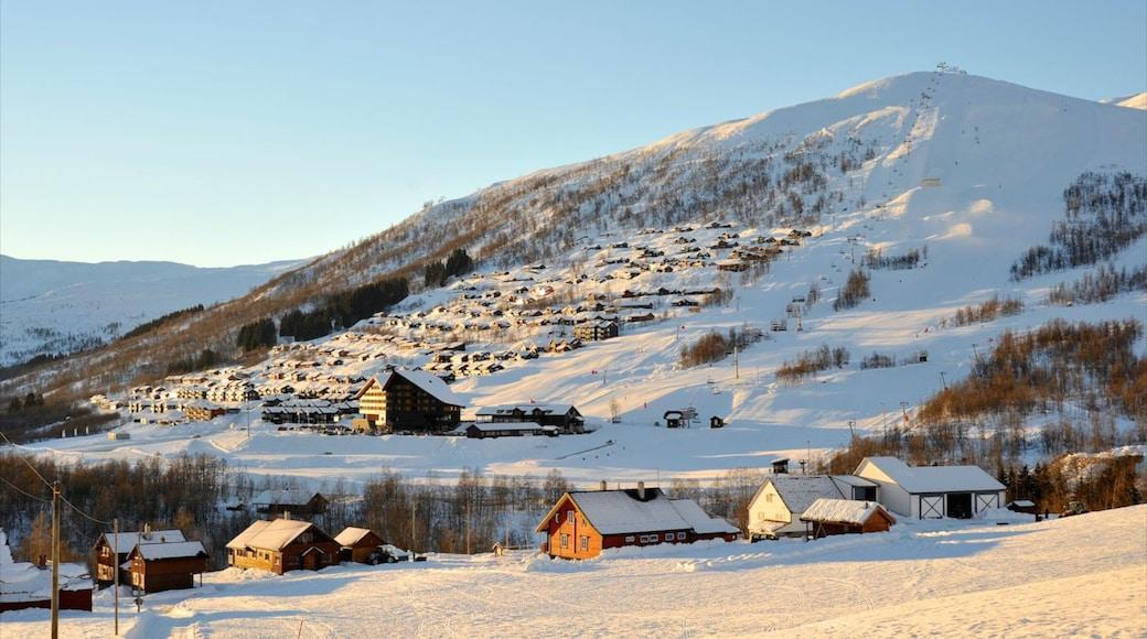 Myrkdalen che include piccola città o villaggio, neve e montagna
