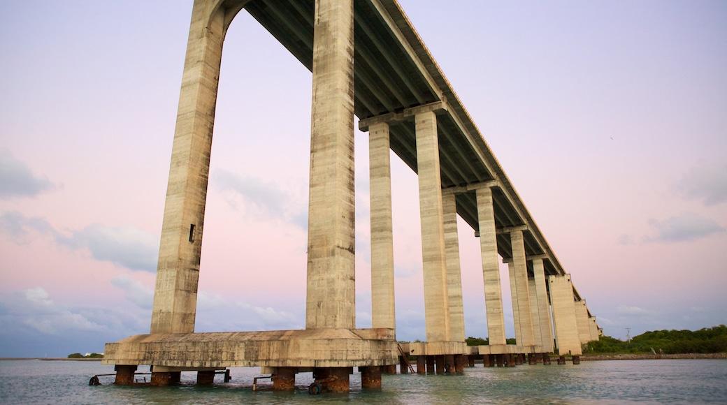 Ponte Newton Navarro que inclui paisagens litorâneas, uma ponte e uma baía ou porto