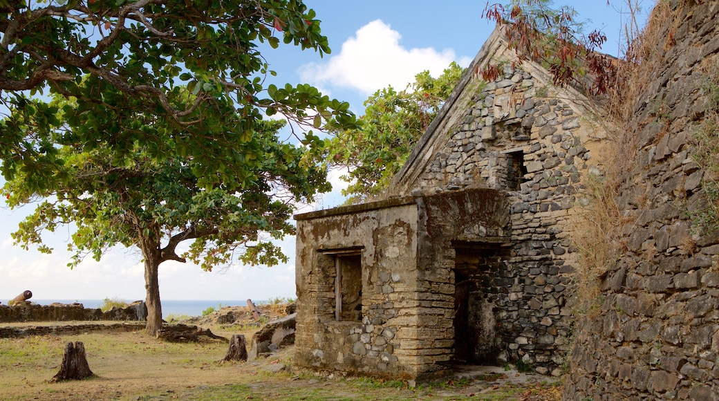 Remedios Fort welches beinhaltet Gebäuderuinen, Geschichtliches und allgemeine Küstenansicht