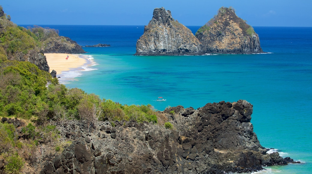 Dois Irmaos Hill featuring general coastal views, island images and a sandy beach