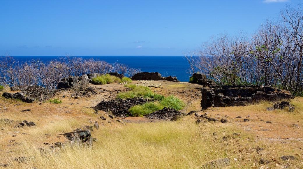 Forte Sao Pedro do Boldro welches beinhaltet Gebäuderuinen, schroffe Küste und Geschichtliches