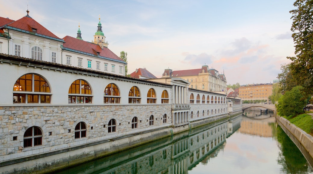 Ljubljana das einen Fluss oder Bach und Stadt