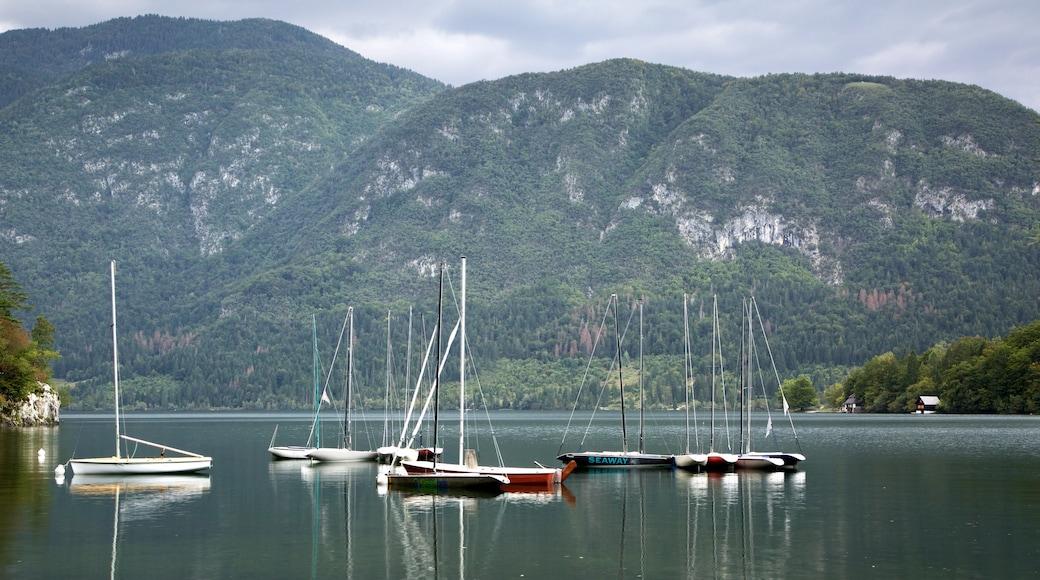 Lake Bohinj showing boating, a lake or waterhole and mountains
