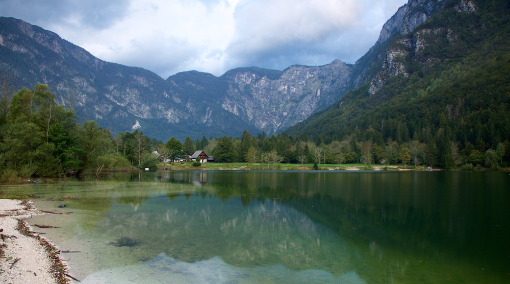 Lake Bohinj which includes a lake or waterhole and mountains