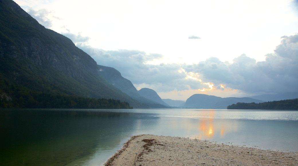 Lake Bohinj showing a lake or waterhole, landscape views and mountains