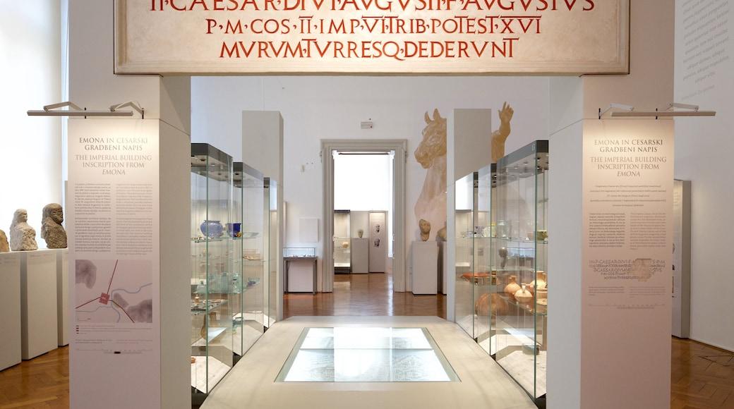 Museu Nacional da Eslovênia mostrando vistas internas e sinalização