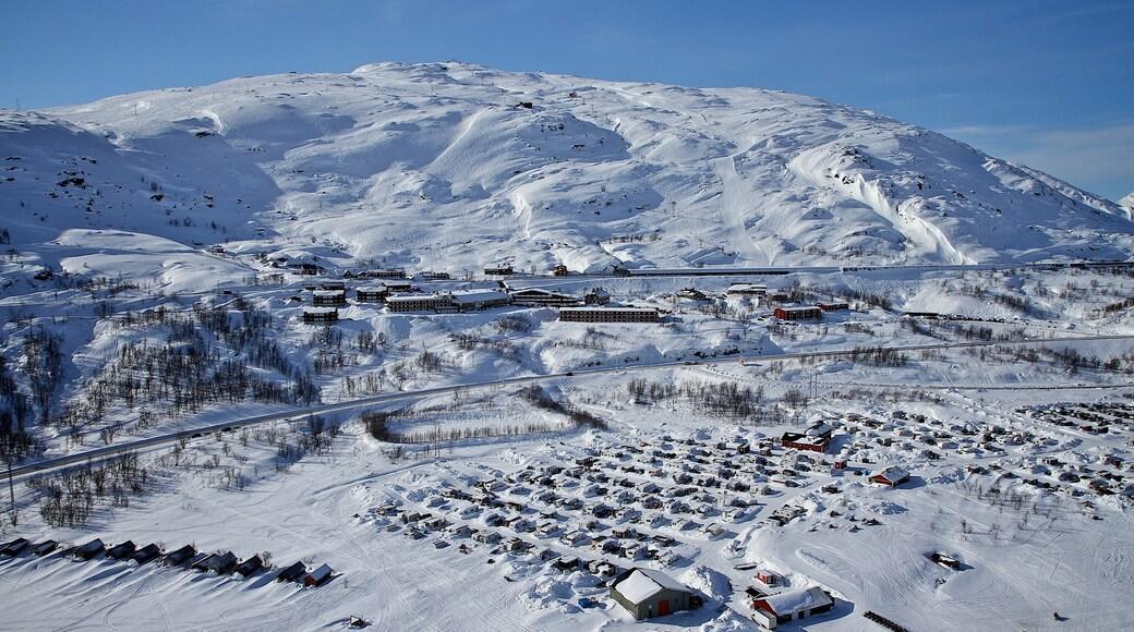 Riksgränsen som inkluderar snö och en liten stad eller by