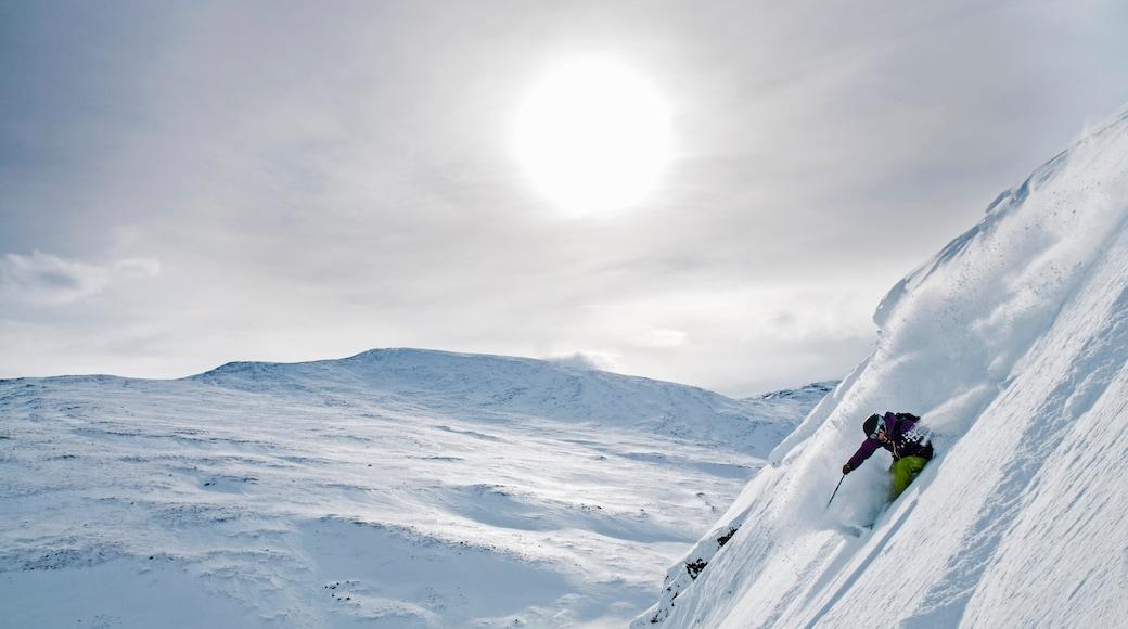 Riksgränsen som inkluderar en solnedgång, utförsåkning och snö