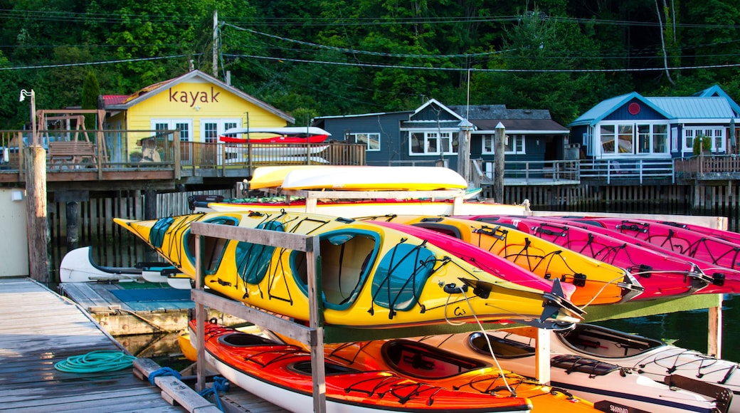Cowichan Bay featuring a coastal town and kayaking or canoeing