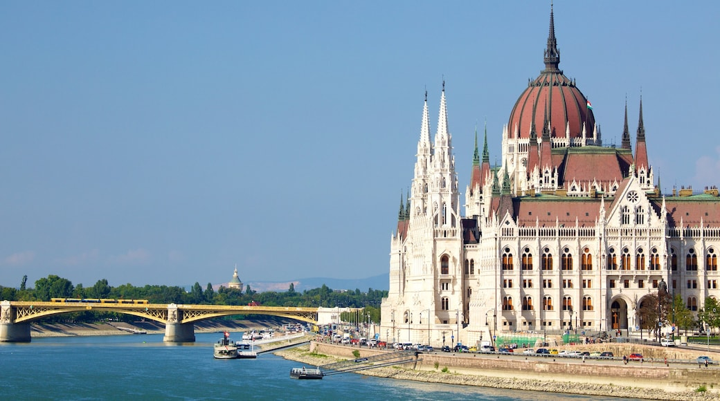 Budapest showing a river or creek, an administrative building and heritage architecture