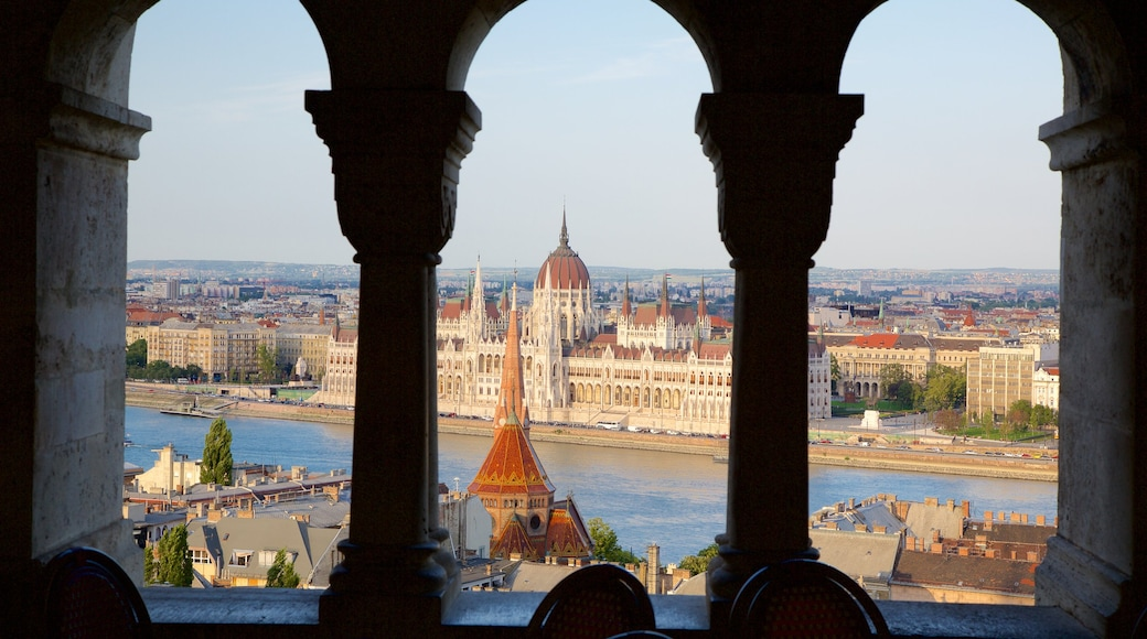Fisherman\'s Bastion showing château or palace, a river or creek and heritage architecture