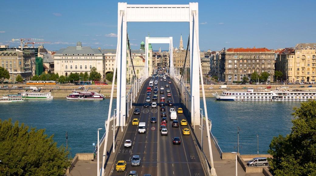 Elisabetin silta featuring joki tai puro, silta ja katunäkymät