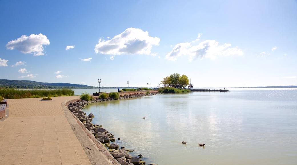 Keszthely showing general coastal views and a marina