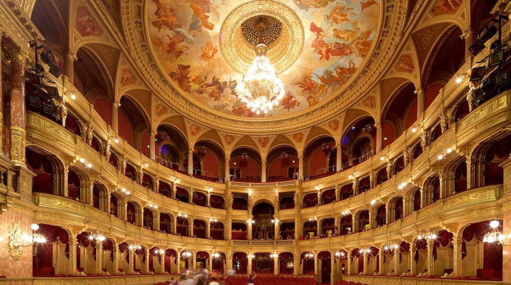 Hungarian State Opera House which includes heritage architecture, theatre scenes and interior views