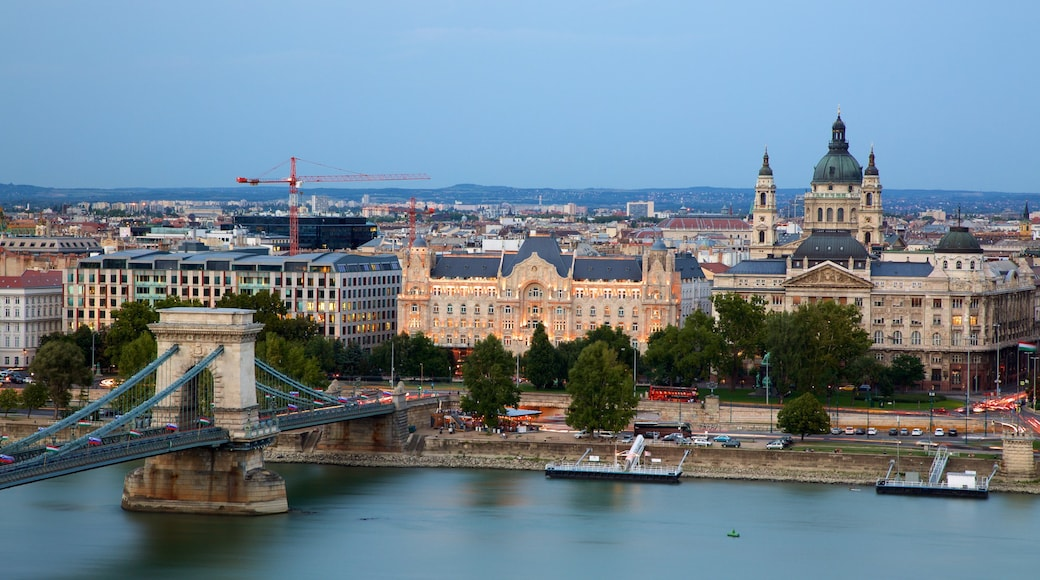 St. Stephen\'s Basilica showing a river or creek, heritage architecture and a church or cathedral