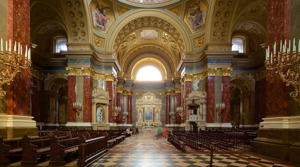 St. Stephen\'s Basilica which includes heritage architecture, interior views and religious elements