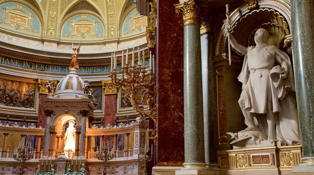 St. Stephen\'s Basilica showing a statue or sculpture, religious aspects and a church or cathedral