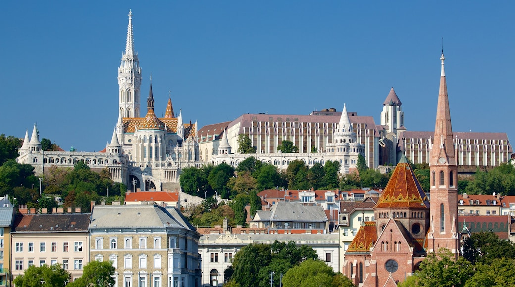 Fisherman\'s Bastion which includes heritage architecture, a church or cathedral and a city